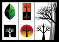 Silhouette trees on black white and color background Royalty Free Stock Images