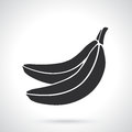 Silhouette of two bananas