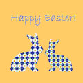 Silhouette of two easter bunny rabbits decorated w with cornflower and chamomile flowers pattern design colorful card vector Stock Images