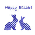 Silhouette of two easter bunny rabbits decorated w with cornflower floral pattern design colorful card vector art Stock Images