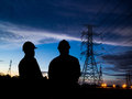 Silhouette of two engineers Royalty Free Stock Photo