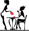 Silhouette of a two girls drink tea vector illustration on party Royalty Free Stock Photo