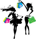 Silhouette two happiness girls shopping Royalty Free Stock Image