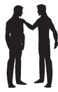 Silhouette of two men talking, illustration Royalty Free Stock Photography