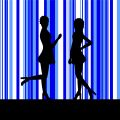 Silhouette of a two women Stock Photography