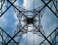 Silhouette under of high voltage tower Stock Photos