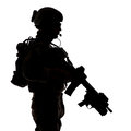 Silhouette of united states army ranger with assault rifle Royalty Free Stock Images