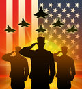 Silhouette of US soldiers saluted.
