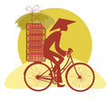 Silhouette Vietnamese cycling Royalty Free Stock Images