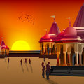 Silhouette view of temple, place of worship Stock Photography