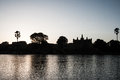 Silhouette of village along the river, Mali Royalty Free Stock Photography