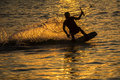 Silhouette Wakeboarder in action Royalty Free Stock Photo