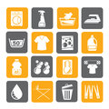 Silhouette Washing machine and laundry icons