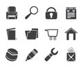 Silhouette website, internet and computer icons Royalty Free Stock Photo