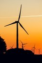 Silhouette of wind generators Royalty Free Stock Photography