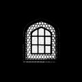 Silhouette of window in the mosque muslim Stock Photo