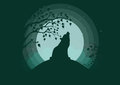 Silhouette of a wolf howling to the moon. Clubs of fog, clouds, starry sky, outlines of trees. Stylish vector