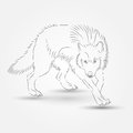 Silhouette of wolf in vector illustration Stock Photo