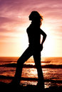 Silhouette of a woman. Stock Image