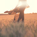 Silhouette of woman body in the field Royalty Free Stock Image