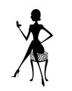 Silhouette of a Woman Checking Her Makeup