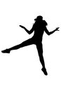Silhouette of woman dancing and jumping on white background