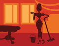 Silhouette woman doing housework room background retro poster card Royalty Free Stock Image