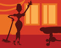 Silhouette woman doing housework room background retro spring clean Royalty Free Stock Photography