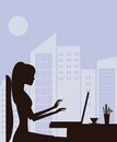 Silhouette of woman with laptop working on vector Stock Photo
