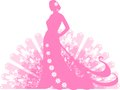 Silhouette of a woman in long dress Stock Image