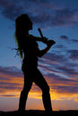 Silhouette of a woman with a pistol pointed up Royalty Free Stock Photo