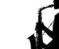 Silhouette woman playing the saxophone isolated on white background