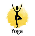 Silhouette of woman practicing yoga at sunset. Yellow sun and girl standing on one leg in tree pose. Vector illustration