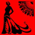 Silhouette of a woman on a red background with black fan Stock Images