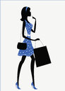 Silhouette of a woman. shopping Stock Photos
