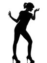 Silhouette woman smelling perfume Royalty Free Stock Photography