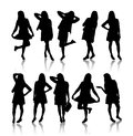 Silhouette of women Stock Photos