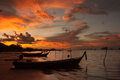 Silhouette of wood boat at sunset krabi thailand Royalty Free Stock Photos