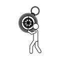 silhouette worker holding up compass of hand Royalty Free Stock Photo