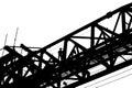 Silhouette of worker working on bridge girder erection machine at highway constrution Stock Image