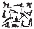 Silhouette yoga poses silhouettes of a woman doing exercises high quality and high detail Stock Image