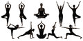Silhouette Yoga Poses on White, Woman Asana Position Exercise