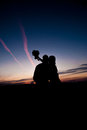 Silhouette of Young couple Royalty Free Stock Photo