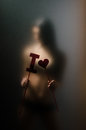 Silhouette of young girl sexual for opaque glass with paper heart in hands Stock Photos
