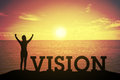 Silhouette young woman standing and raising up her hand about winner concept at VISION text Royalty Free Stock Photo