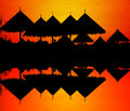 Silhouette of zoo roof reflection in water Stock Photo
