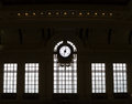 Silhouetted clock and windows of historic train station near philadelphia Royalty Free Stock Photography