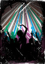 Silhouetted clubbers dancing Royalty Free Stock Image