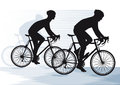Silhouetted cyclists illustration of two racing Stock Photos
