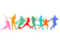 Silhouetted Group Of Sports Pe...